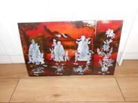 Chinese oriental laqured mother of pearl wall tiles vintage