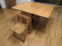 Dining set with 4 chairs, cushions and tablecloth