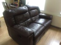 2 Seater brown leater sofa