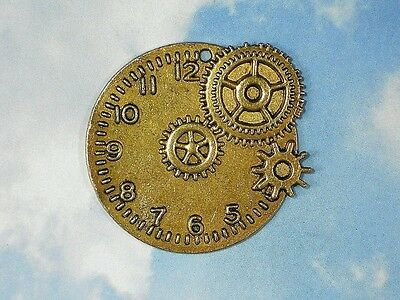 1 Gears & Watch Clock Face Pendant Gold Steampunk Timepiece Large Charm #P850