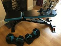 Men's health work bench and dumbells (2)