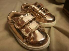 Next girls rose gold infant 4 trainers shoes