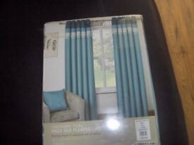new curtains teal faux silk pleated top eyelet curtains 46in w x 72in drop.
