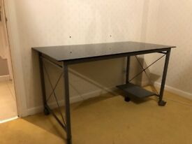 Black glass top desk with 2 office chairs