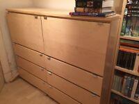IKEA Computer desk/drawer storage unit in birch veneer.