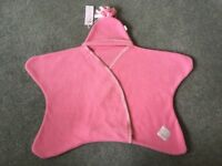Gorgeous, brand new pink Tuppence & Crumble Star baby wrap, small (0-4 months) with tags