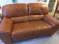 Reclining 2 seater leather sofa