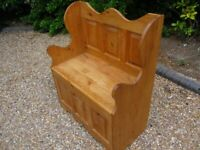 MONKS BENCH. PINE PEW WITH STORAGE. SETTLE. Delivery possible. ALSO CHURCH CHAIRS FOR SALE.