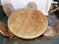 Ercol-style Folding Dining table + 4 Ercol chairs!