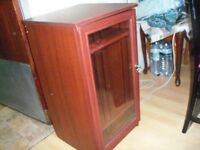 Mahogany Wood & Glass Side Cabinet Living Room with shelves & storage area on top see pics