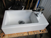 Sink, small. 130mm(H) x 465 (W) x 255(D). with monoblock tap and push button waste