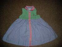 Ralph Lauren Red, Green and Blue Striped Sleeveless Dress. 6 Months