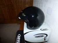 BLACK MTR OPEN FACE CRASH HELMET A LARGE FITTING 59/60 FAB CONDITION