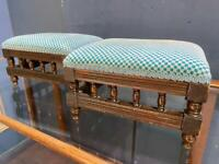 Two beautiful Victorian footstools reupholstered in a blue fabric