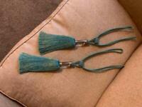 Pair of teal curtain ties