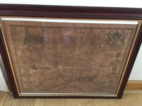 Berk Shire'. County map Berkshire old antique in a wooden and gold frame. 58 cm wide x 48 cm high