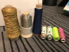 9 rolls of thread and yarns