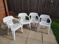 White PVC garden chairs