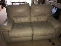 Cream leather electric reclining two seater sofa