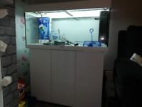 Jewel fish tank and 3 door cupboard stand