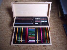 Box of Artists pencils, pastels, etc