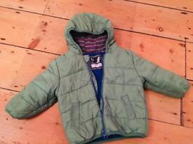 Green puffer coat, 6-9months