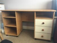 Desk, drawers, small drawers and book cases