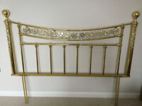King Size Bed Headboard in Brass with Mother of Pearl effect inlays - Rare