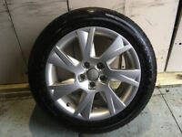ALLOYS X 4 OF 17 INCH GENUINE AUDI A5 IN EXCELLENT CONDITION WITH A SET OF GOOD BRIDGESTONE TYRES