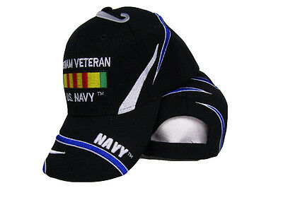 80ee49bb484 U.S. Navy Vietnam Vet Veteran Ribbon Black Embroidered Ball Cap Hat