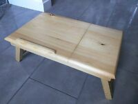 Wooden laptop MacBook table with a drawer, and adjustable height and tilt