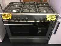 KENWOOD 90CM DUAL FUEL RANGE STYLE COOKER IN SHINY SILIVER