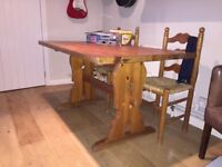 Pine dining table and 4 chairs -
