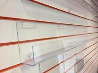 Slatwall POS retail 5x Acrylic A4 poster & 2x display shelf / trough
