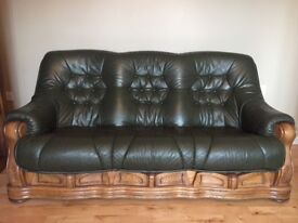 2 x 3 seater sofas, hamlet green genuine leather sofas. Can be sold separately. Good condition.