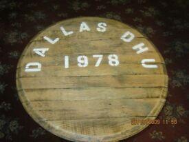 Whisky Barrel End Side Table - Solid Oak 55cm Top