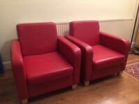 Two armchairs, red faux leather in VGC . From a smoke free home.