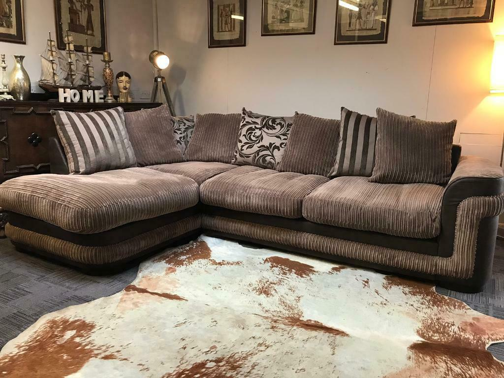 Nearly New Dfs Brown Jumbo Cord Corner Sofa Quality Suites