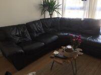 Corner Leather Sofa and pouffe Brown Detachable £300 ONO