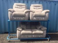 Ex Display grey fabric suite (Delivery Included)