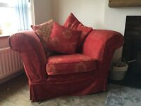 Generous three seater sofa and single chair