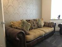 3 Piece Leather/Fabric Mix Cushion Back Suite. 1 x 3 seater Settee , 2 x Armchairs - cost £4,000