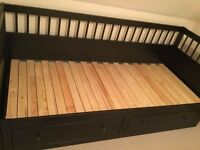 Black IKEA Hemnes extendable Day Bed with 2 drawers with 2 mattresses single double queen size sofa