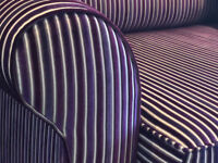 Truly stunning bespoke 2.4m hand-made purple striped sofa. Cost £3200 when new. FREE DELIVERY.