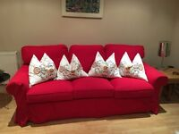 Red 3 seater king sized sofa bed