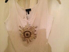 Escada white vest top with embellishments brand new