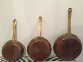 Vintage, French Style Copper Frying Pans - Shabby Chic.