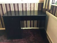 DESK AND STOOL. WELL BUILT, BLACK IN COLOUR.