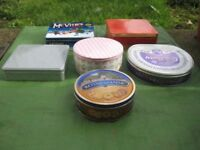 Five Various Colourful Metal Storage Tins for £5.00