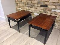 2X G PLAN LIBRENZA Tola Mahogany Black LAMP TABLE 50s Retro Tables